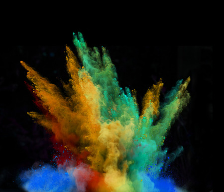 Launched colorful powder, isolated on black background Фото со стока - 33260366