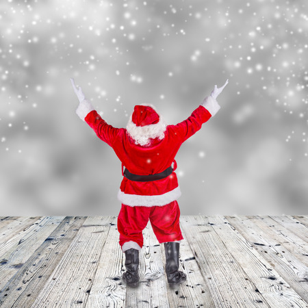 Santa Claus with upraise his hand, concept of Christmas hatred.