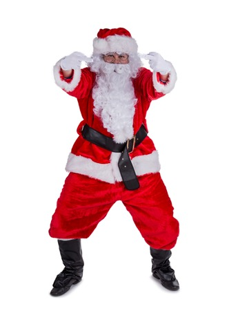 hatred: Santa Claus with upraise middlefingers, concept of Christmas hatred. Stock Photo