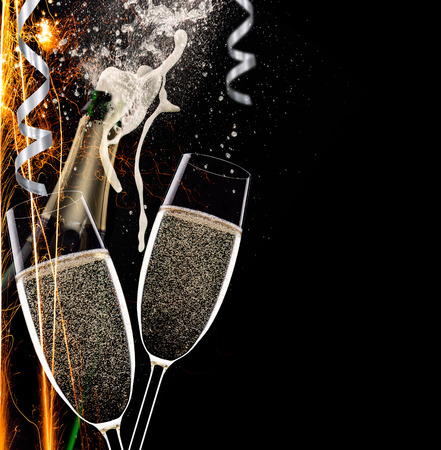Champagne flutes on black background, celebration theme. Stock Photo - 33566379