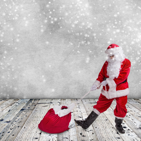 Photo of Santa Claus with eyeglasses. Stock Photo