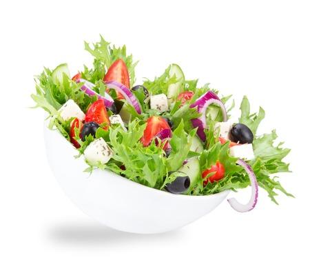 feta cheese: Fresh tasty salad isolated on white background