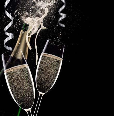 event party festive: Champagne flutes on black background, celebration theme.