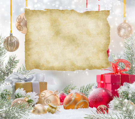 stars background: Abstract Christmas background with old paper Stock Photo