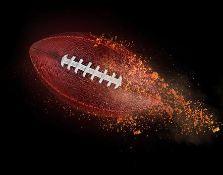 pelota rugby: pelota de rugby volando con suciedad aislado en negro.