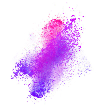 explosion: Launched colorful powder, isolated on white background