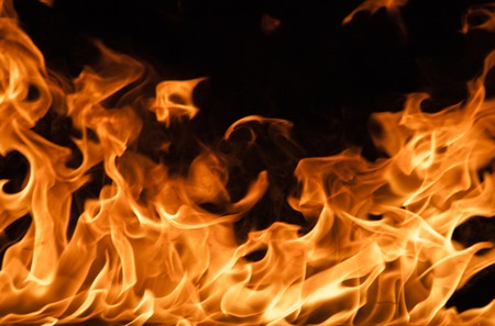 Fire flames background, close-up. Stock Photo - 34393416