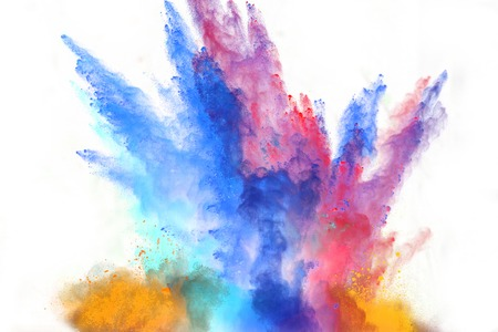 polvo: Lanzado en polvo colorido, aislado en fondo blanco Foto de archivo