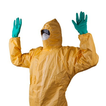 clinical research: Scientist with protective yellow hazmat suit. Stock Photo