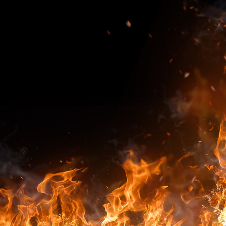 Beautiful stylish fire flames, close-up. Stock Photo