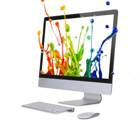 Computer display isolated on white.