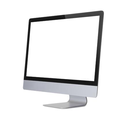 컴퓨터 디스플레이는 흰색 배경에 고립입니다. 스톡 콘텐츠