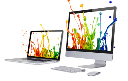 liquid crystal display: Laptop and computer display isolated on white background.