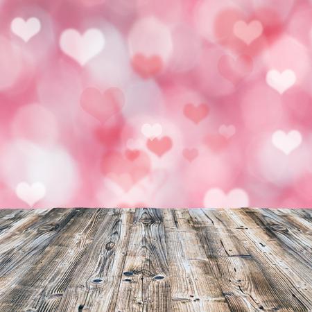 valentine's day background: Valentines background with wooden desk