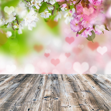wooden desk: Valentines background with wooden desk