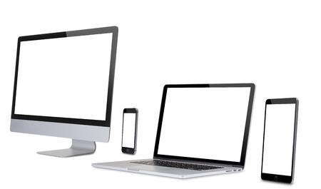 Beeldscherm van de computer op wit wordt geïsoleerd. Stockfoto