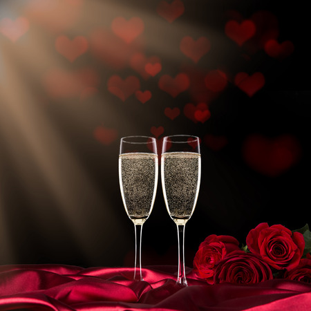 sparkling valentine day with champagne and roses, close-up. stock, Ideas