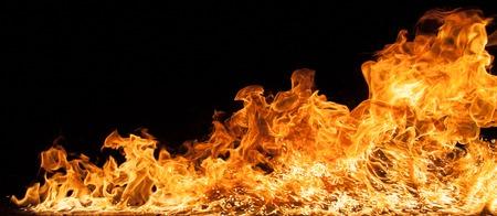 Beautiful stylish fire flames, close-up. Stock Photo
