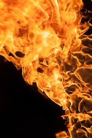 petrol bomb: Beautiful stylish fire flames, close-up. Stock Photo