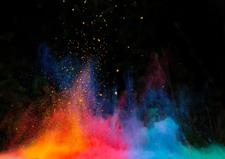 blue smoke: Launched colorful powder, isolated on black background