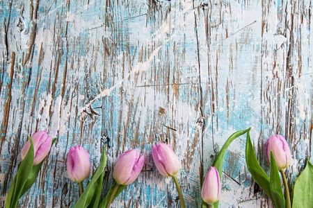 tulip: tulips and easter eggs on wooden background, close-up.