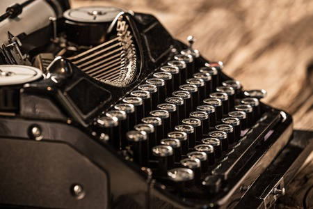 Old vintage typewriter, close-up.