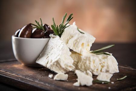 ギリシャのチーズ フェタチーズ、静物画。