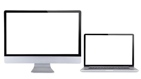 Computer display with laptop isolated on white background.
