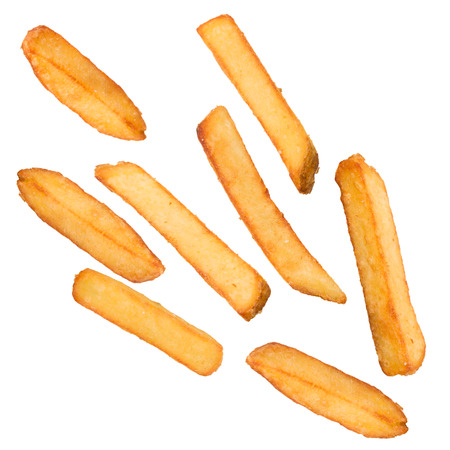 French fries in freeze motion isolated on white 스톡 콘텐츠