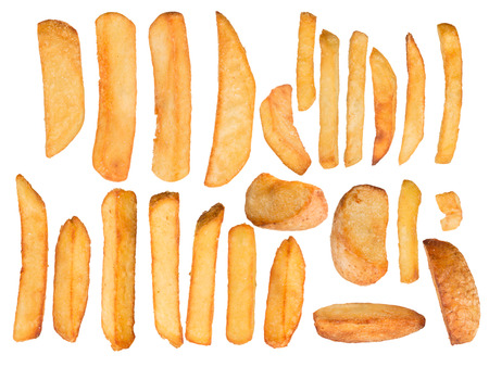 frites: French fries in freeze motion isolated on white Stock Photo
