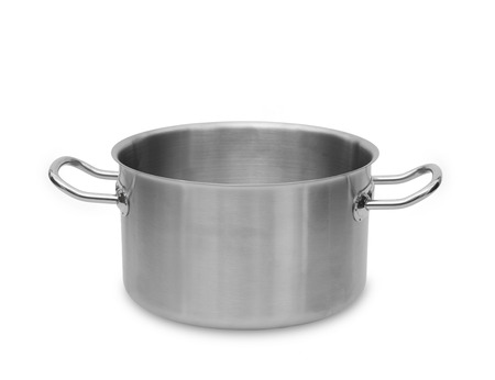 stockpot: Stainless steel pot isolated on white background.