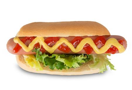 perro caliente: Perrito caliente con la mostaza y la salsa de tomate. Aislado en el fondo blanco