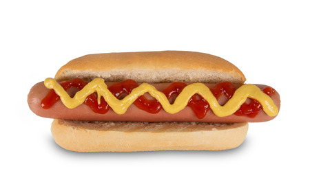 hotdog: Hot dog with mustard and ketchup. Isolated on white background