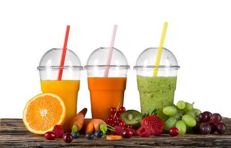 Frischer Saft-Mix Obst, Gesunde Getränke Auf Holztisch. Lizenzfreie ...