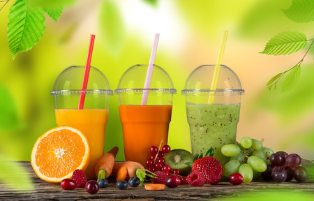 mix fruit: Fresh juice mix fruit, healthy drinks on wooden table.