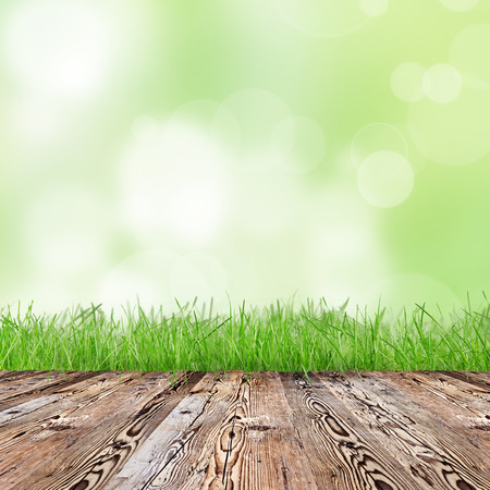 spring background: Fresh green grass with wooden desk. Stock Photo