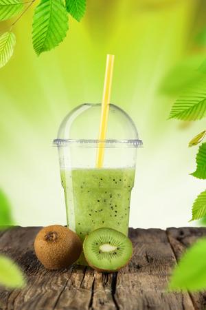 kiwi: Fresh kiwi fruit, healthy drink on wooden table.