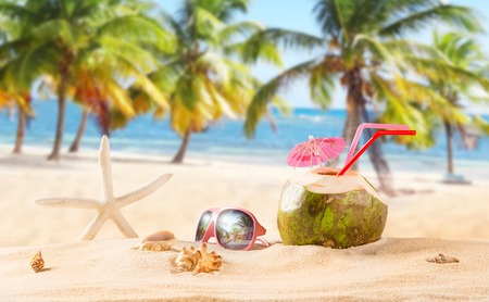 coconut fruit: summer coconut drink on the beach. Summer paradise.