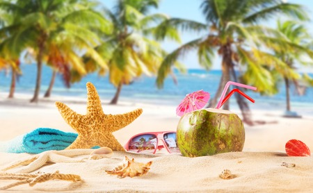 coconut leaf: summer coconut drink on the beach. Summer paradise.