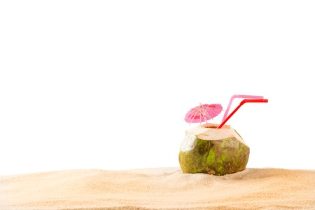 drinking water sign: summer coconut drink on the beach. Summer paradise.