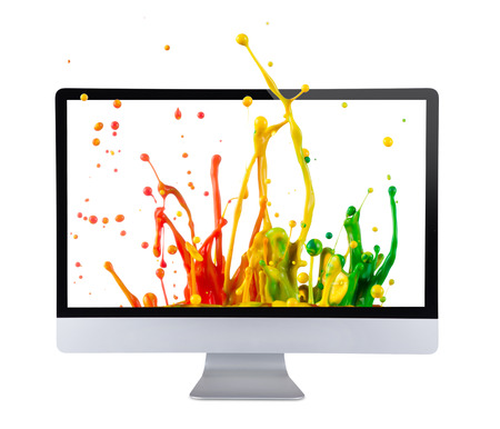 liquid crystal display: Computer display isolated on white background.
