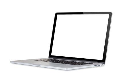 노트북 컴퓨터는 흰색 배경에 고립입니다. 스톡 콘텐츠