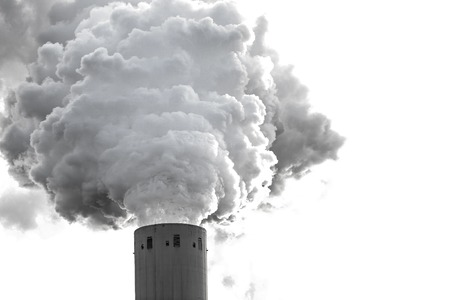 emissions: Smoke clouds from a high concrete chimney, close-up. Stock Photo