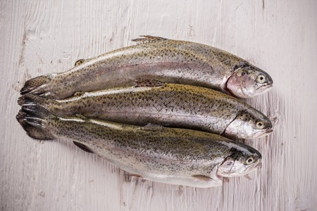 gilthead: Rainbow trouts on white wooden table, close-up Stock Photo