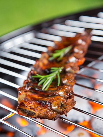 grate: Delicious pork spareribs on grill grate