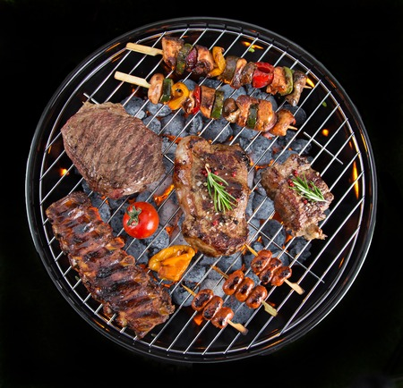 Delicious meats on garden grill