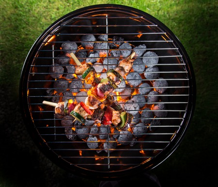 barbecue fire: Delicious skewers on garden grill Stock Photo