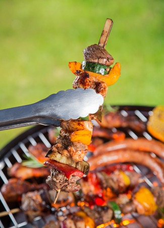 Delicious meats on garden grill photo
