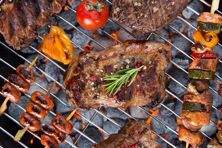 fresh meat: Delicious meats on garden grill
