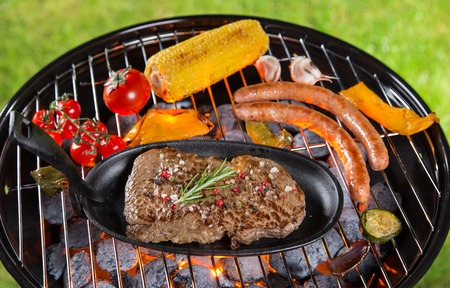 Delicious beef steak on garden grill, close-up photo